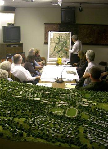 Architect David Van Hoy presents Westmont's plans to the MBAR.