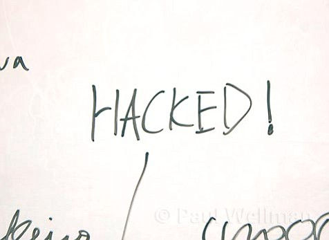 A whiteboard in the computer lab of the UCSB-hosted hacking competition.