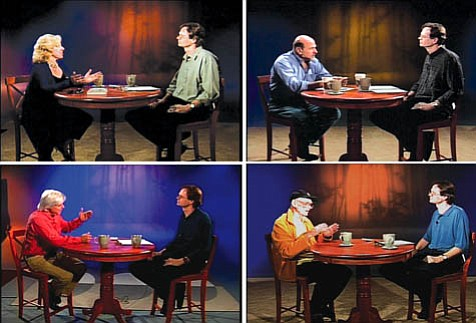David Starkey on the set interviewing various guests. Clockwise from top left: author Erica Jong, director Andrew Davis, comedian Jim Hawthorne, and underwater filmmaker Mike deGruy.
