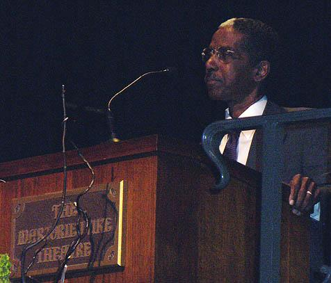 Dr. Hymon Johnson, a professor at Antioch University, gave the keynote address at Monday's Martin Luther King, Jr. celebration at the Marjorie Luke Theatre in Santa Barbara.