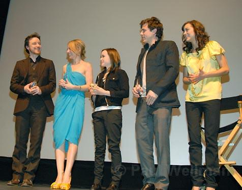 L to R  James McAvoy, Amy Ryan, Ellen Page, Casey Affleck, and Marion Cotillard