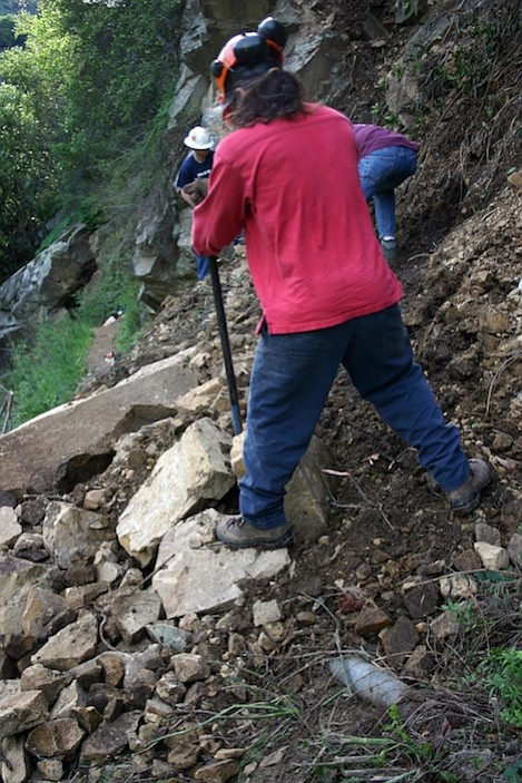 Trail crew employed by MTF is on the job immediately after flood damage closed Cold Springs Trail. This is just one example of the outstanding work done on behalf of all trail users by MTF.