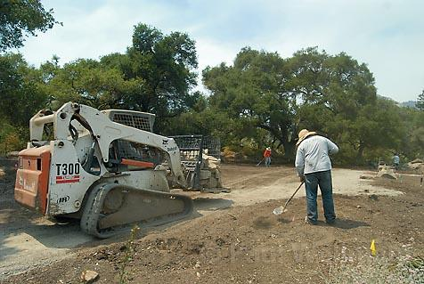 The construction of a new terrace patio-pictured here at the Santa Barbara Botanic Garden last August-has been permanently halted by the Board of Supervisors, which upheld the Historic Landmarks Advisory Commission ruling that the work was impermissible in the meadow area.