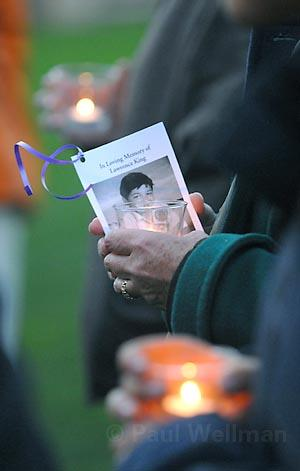 A candlelight vigil on Friday honoring 15 year-old Lawrence King at the Santa Barbara Courthouse. King was slain at his junior high school in Oxnard by a 14 year-old classmate.