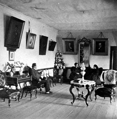 Casa de la Guerra, late 1870s:  This adobe belonged to one of the wealthier Santa Barbara families.  Note the wooden floor and elegant furnishings.