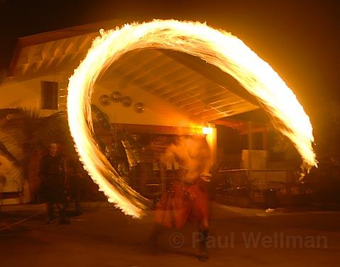 Feeling the burn: Pyrospin performers get fired up at Reds, practicing for a gig at L.A.'s Decom festival.