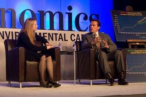 Governor Arnold Schwarzenegger and ECO:nomics moderator Kimberley Strassel talk about California's recent growth of environmentally safe technology.
