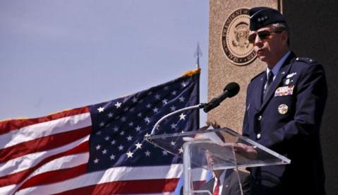 """Lieutenant General Henry """"Trey"""" Obering addresses service members and dignitaries at the dedication of the Ronald W. Reagan Observation Area aboard Vandenberg Air Force Base."""
