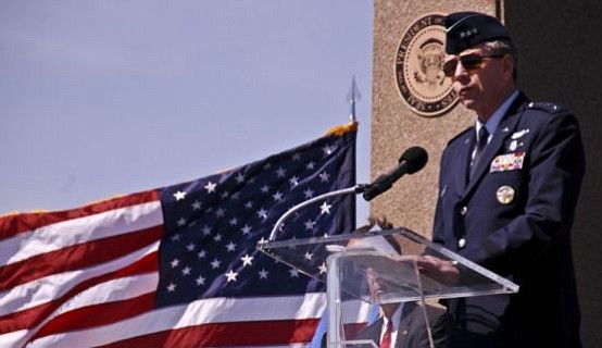 "Lieutenant General Henry ""Trey"" Obering addresses service members and dignitaries at the dedication of the Ronald W. Reagan Observation Area aboard Vandenberg Air Force Base."