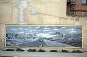 "Mural on the side of one of the downtown buildings portrays life in Bluefield in the ""good old days."""