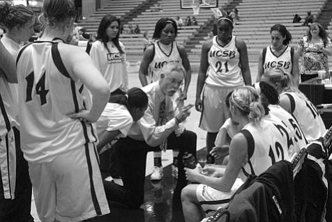 UCSB women's basketball coach Mark French (shown here during a home game in fall 2007) took the Gauchos to the first round of the NCAA tournament this season. French is retiring after 21 years at the helm of the program.
