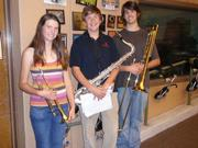 SBHS Jazz Band members from left to right: Georgia Macy, Andrew Adams, and Ray Macy.