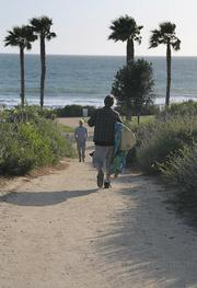 The trail leading down to the beach near Bacara. The focus of many county coastal access debates, this beach's availability to the public is being negotiated by the resort and the Coastal Commission.