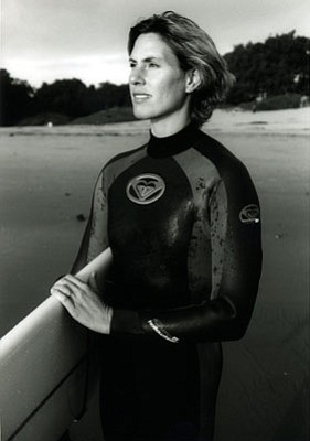 Sarah Gerhardt, the first female tow-in surfer.