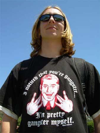 High school student like his t-shirt.