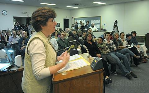 At the Santa Barbara School Board meeting on Tuesday night, La Colina Junior High librarian Ramona Martin makes the case for keeping librarians rather than replacing them with &quot;media technicians.&quot;