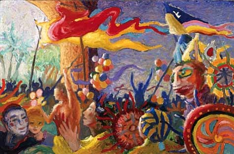 """""""Summer Solstice Celebration""""a 1981 painting by Michael Gonzales"""