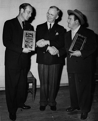 Mayor Patrick Maher (center) welcomes the comedy team of Bud Abbott (left) and Lou Costello to Santa Barbara in February 1945.