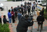 Press conference on the steps of the Police Station
