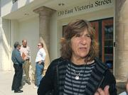 Hillary Hauser outside of the Santa Barbara County Registrars office