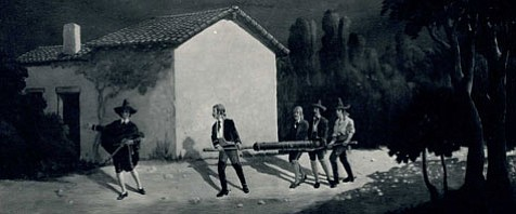 Artist Theodore Van Cina's rendition of the five youths stealing the cannon in the Canon Perdido (Lost Cannon) incident, 1848.  Mural painted in the late 1920s.