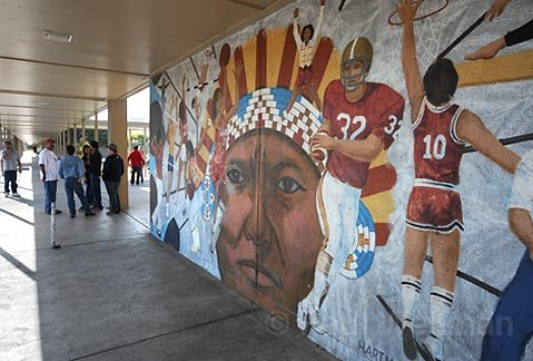 This Mural outside the Carpinteria High School auditorium is one of the controversial icons on campus