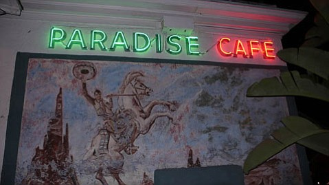 Leo Carrillo rides the Paradise Cafe mural.
