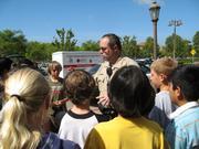Deputy Bornehan talks to 4th graders from Ellwood School.
