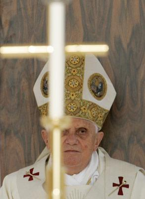 Pope Benedict XVI, shown here at a mass in southern Italy earlier this June, met with a victim of a pedophile priest while visiting the U.S. in April.