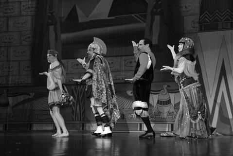 "(From left) Adam Wylie as Slabio, Joey D'Auria as Marcus Aurelius, Joshua Finkel as Juilusi Scissors, and Dale Kristien as Cleo in the Cohan, Weber, Fields, and Russell number ""Cleo, 