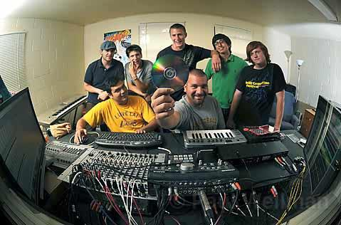 Clockwise from bottom right: Sound Lab owners Michael and Cory Cordero-Rabe and happy customers Kevin Cantillon, Noah Gibbons, Spencer Kelly, Victor Murillo, and Zak Kopeikin.