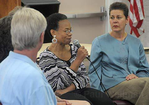 "BRINGING IT TO THE TABLE: ""We as adults have a responsibility to share the truth of our lives with you,"" said Healing Soul of America's charismatic founder,  Audrey Addison Williams (left), during a sharing circle that included Santa Barbara Superior Court Judge Denise de Bellefeuille (right)."