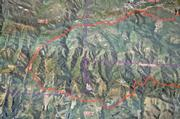 Map of upper Tecolote Canyon and the western edge of the fire perimeter.