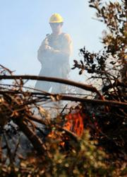 Dan Maguire, a firefighter with the Monterey District of the Los Padres National Forest, keeps an eye on a small spot fire, letting the fuel burn but not too fast.