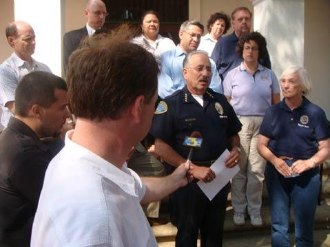 "STILL SAFE: At a press conference on the steps of City Hall following the third murder of a teenager in the past 18 months, Police Chief Cam Sanchez said the city ""is and remains one of the safest cities in the state."""