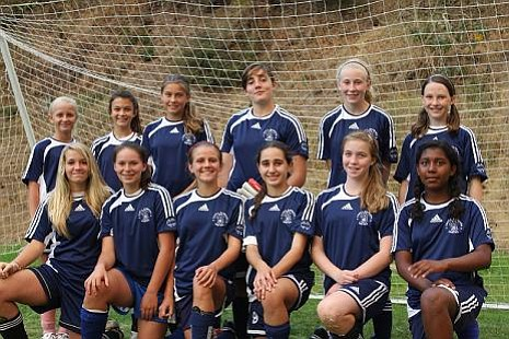 The Santa Barbara United soccer team heads to the Norway Cup this month. They are: back row, left to right: Gabrielle Goss, Tiana Bonn, Katarina Rocha, Hannah Ball, Jordan Corry, and Une Solheim; front row, left to right: Michelle Goss, Megan Grajeda, Erin Graf, Caroline Vance, Sydney Read, and Adaezia Hill. Natalee Yamasaki and Amber Holland are not pictured.