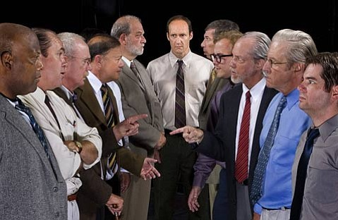 The cast of Twelve Angry Men (left to right) Mark Lee, Clyde Sacks, Tim Whitcomb, Ed Giron, Stuart Orenstein, Brian Harwell (center), Jerry Oshinsky, George Coe, Bill Waxman, Wilson Smith, Alfred St. John Smith, (not shown- Gene Garcia and Ben Chang)