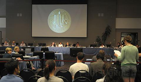 UC Regents in UCSB's Corwin Pavillion take open comments
