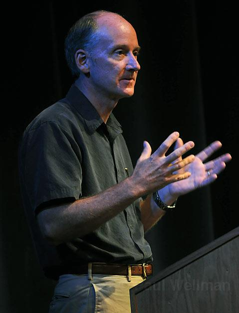 "James Thomson ""Father of Stem-Cell Research"" speaks at UCSB's Hatlin Theatre during a town hall meeting on stem cell research"