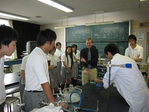 San Marcos teacher Michael McLaughlin (center) observes life in a Japanese classroom.