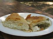 Tiropita (cheese pie) and spanakopita (spinach and cheese pie)