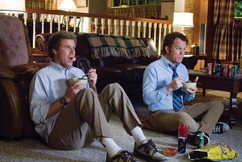Will Ferrell (left) and John C. Reilly deliver the stupid comedy in <em>Step Brothers</em>.