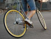 Fixed-gear bikes have no cluster of gears on the rear wheel and their riders have to pedal whenever the bike is in motion.