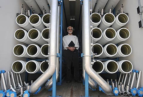 City Water Planner Bill Ferguson in a trailer that holds membrane filters at Santa Barbara's dormant water desalination plant.