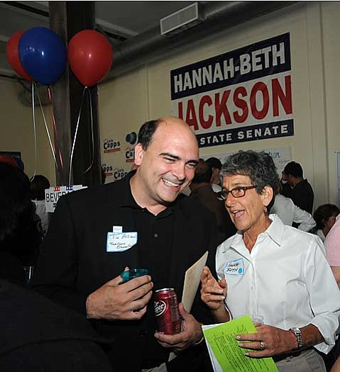 Tim Allison and Hannah-Beth Jackson at the grand opening of Santa Barbara's Democratic headquarters
