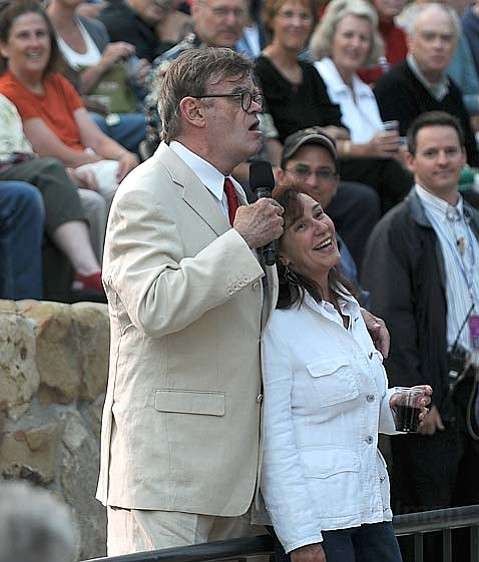 Garrison Keillor gets up close and personal with the crowd during the Prairie Home Companion gang's Saturday night Bowl show.