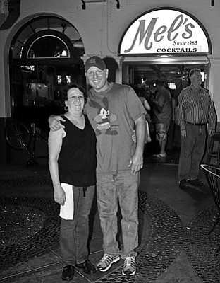 Mel's Cocktails (Since 1963). Owner Mike Knapp with Fran Reed, bartender for 19 years.