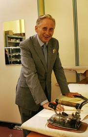 Bespoke tailor Michael Anderson in his S.B. store, Takapuna.
