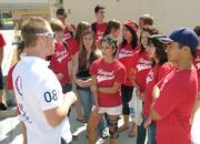 Adam Duvendeck talked with students and signed autographs before the event