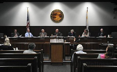 City of Santa Barbara Planning Commission, from left: Bruce Bartlett, John Jostes, Bendy White, George C. Myers, Stella Larson, Charmaine Jacobs, and Addison Thompson